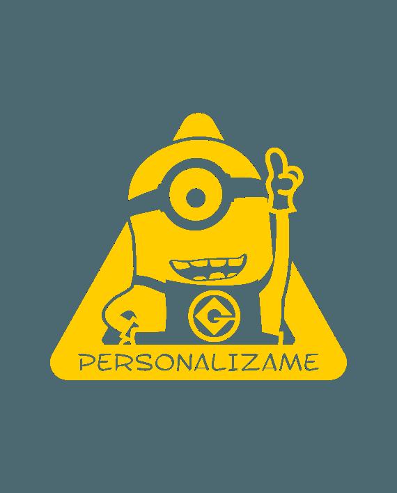 pegatina bebe a bordo minions personalizable