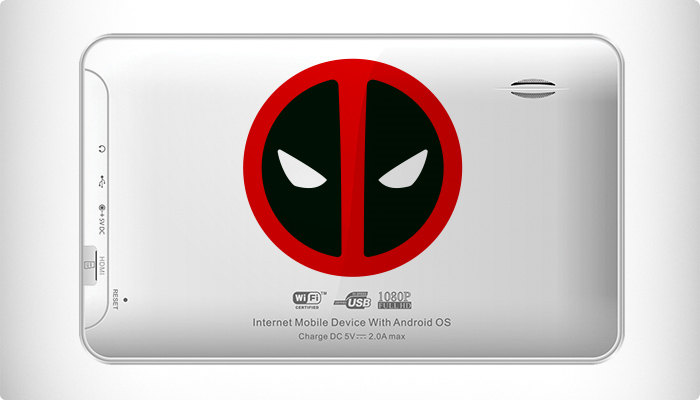 pegatina simbolo deadpool tablet
