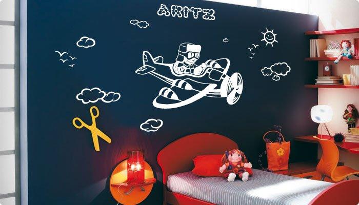 vinilo decorativo aviador infantil