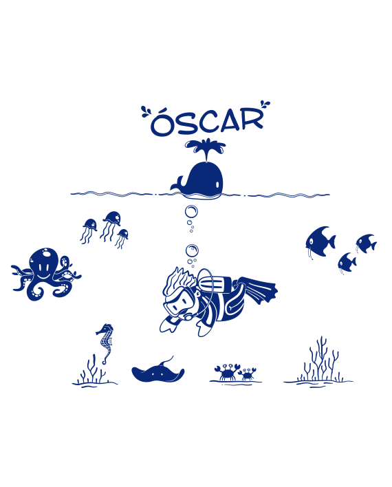 vinilo decorativo fondo marino infantil