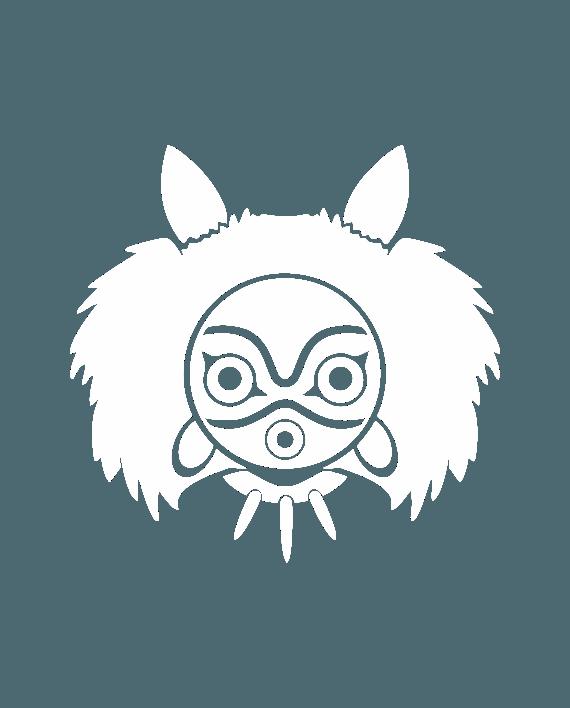 mascara princesa mononoke pegatina