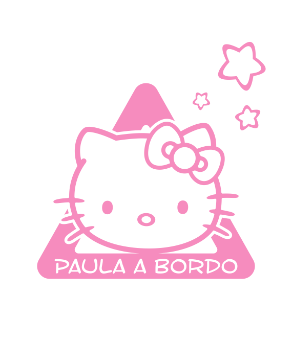 pegatina bebe a bordo hello kitty personalizable