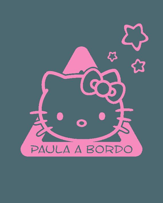 pegatina bebe a bordo hello kitty personalizable
