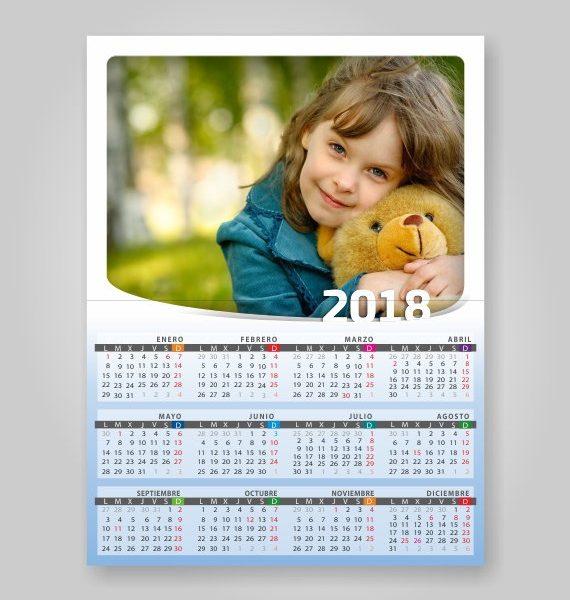 postal con calendario 2018