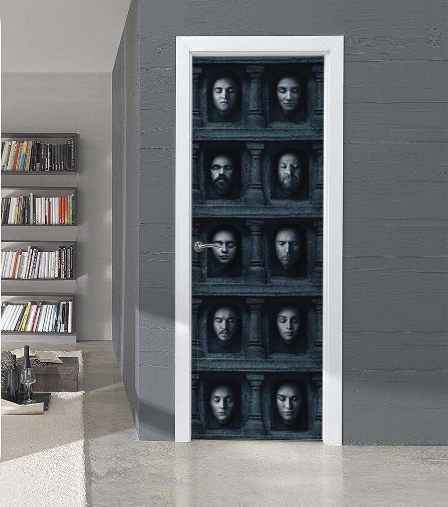 vinilo puerta juego de tronos rostros