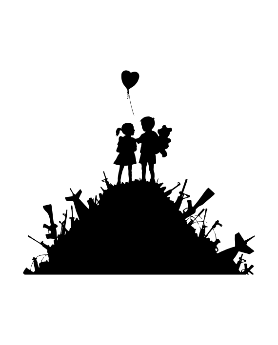 vinilo decorativo banksy niños sobre armas