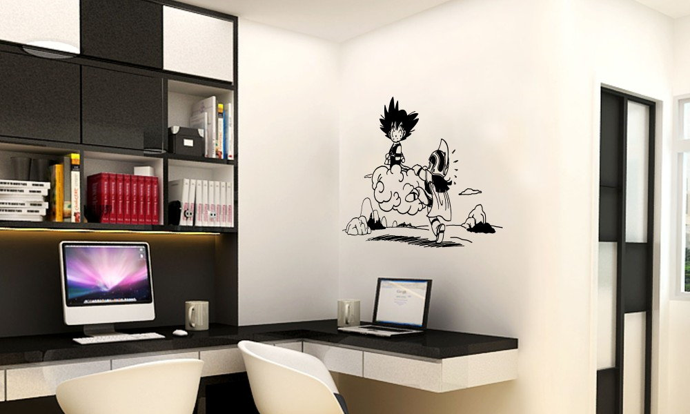 vinilo decorativo dragon ball goku chichi nube kinton