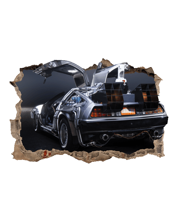 Delorean incrustado pared vinilo decorativo