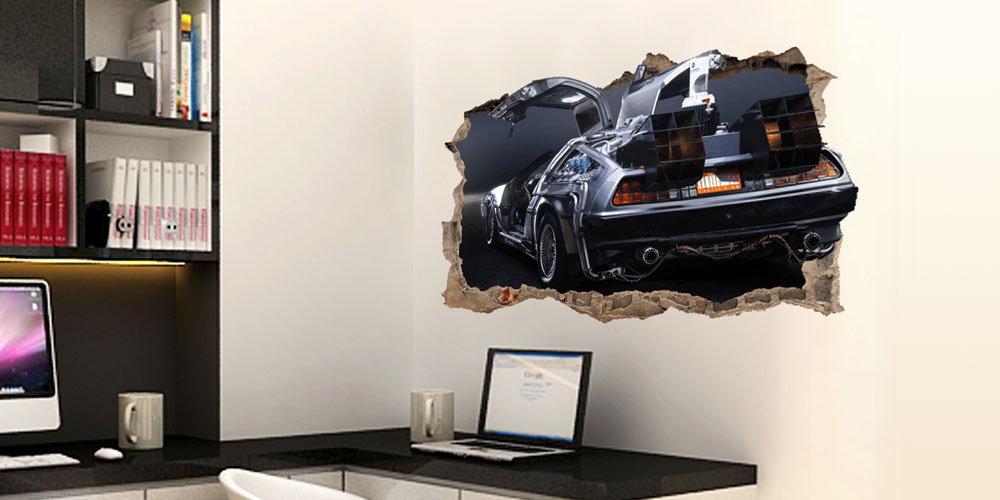 regreso al futuro vinilo decorativo pared rota delorean