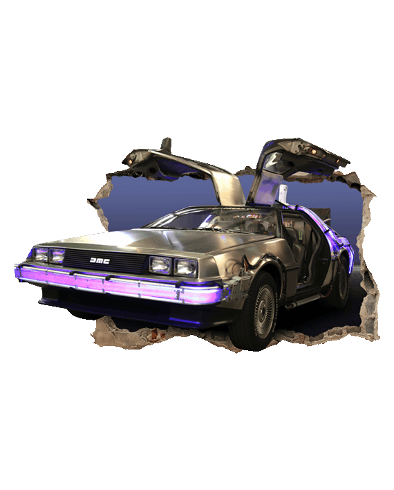 Delorean se sale pared vinilo decorativo