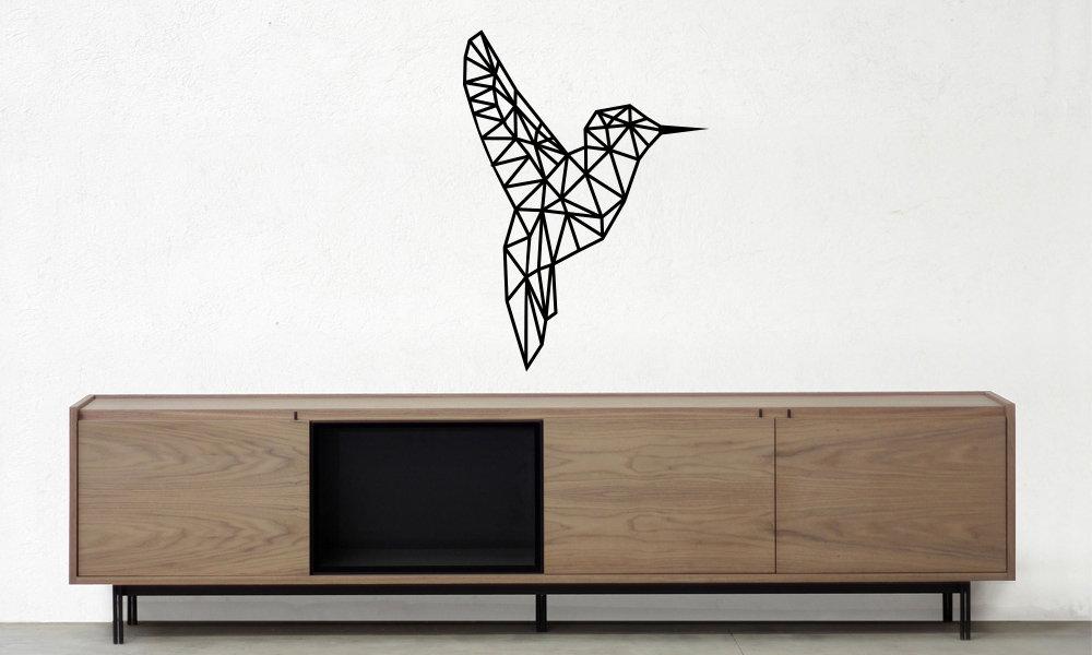 colibrí vinilo decorativo geométrico