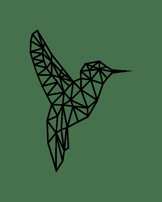 vinilo decorativo colibrí geométrico