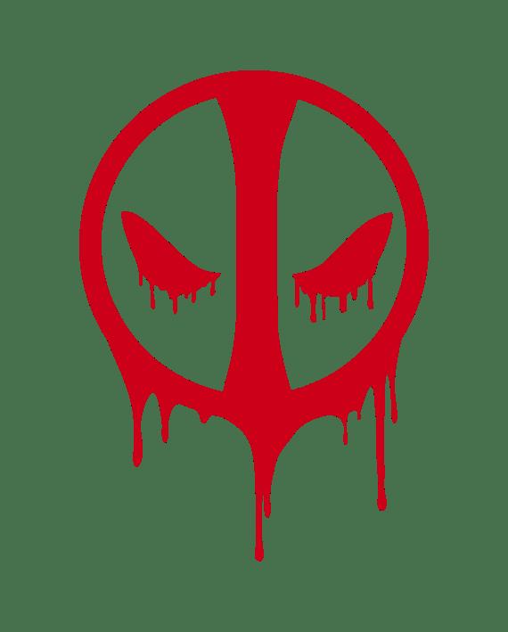 pegatina deadpool simbolo sangre troquelado