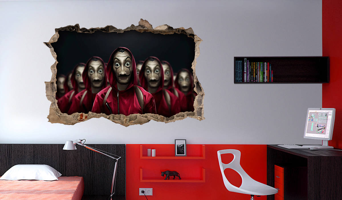 la casa de papel vinilo pared rota mural
