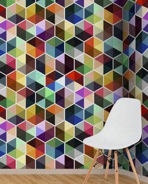 vinilo hexagonos trinagulos colroes mosaico patron medidas mural pared
