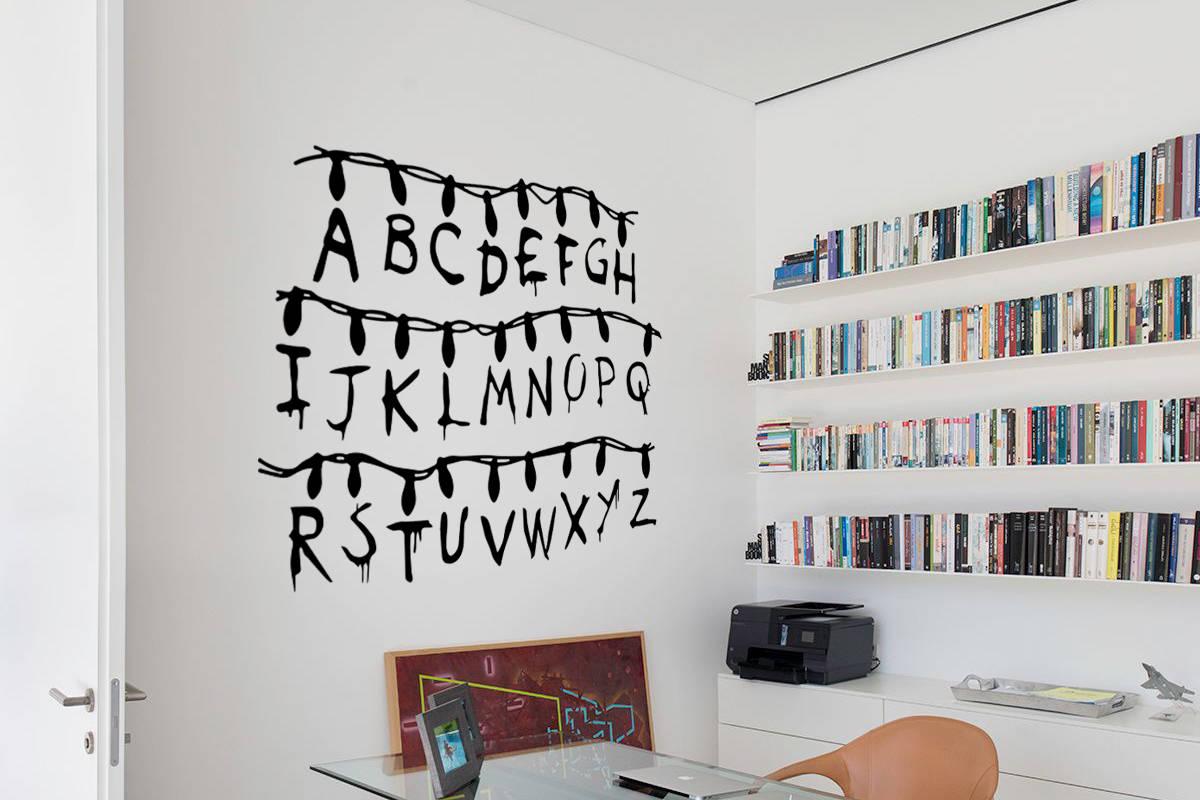 stranger things vinilo decorativo abecedario pared