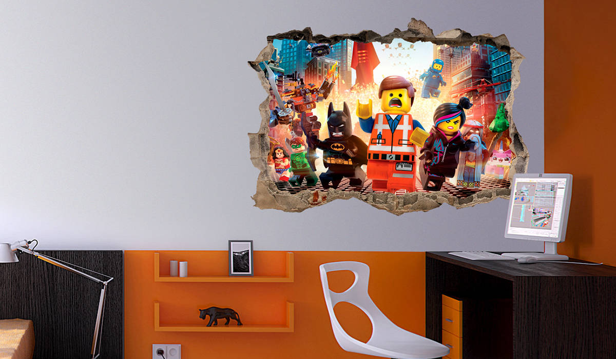 vinilo lego city emmet agujero pared 3d mural