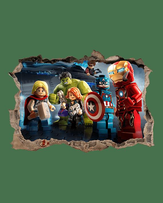 vinilo Lego los vengadores avengers mural agujero pared
