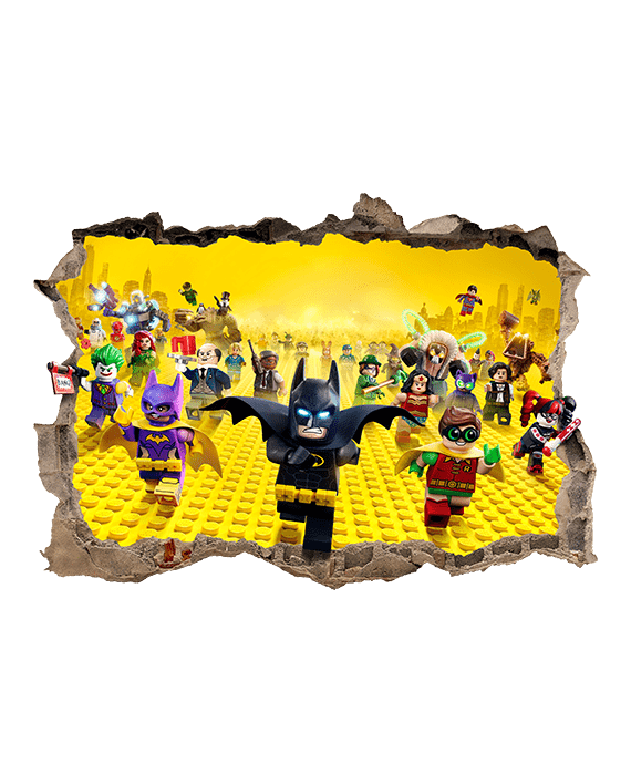 vinilo Lego Batman agujero Pared mural