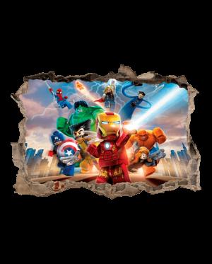 vinilo lego superheroes agujero pared 3d mural