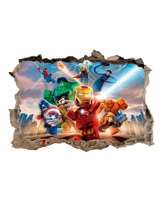 vinilo lego superheroes agujero pared 3d mural