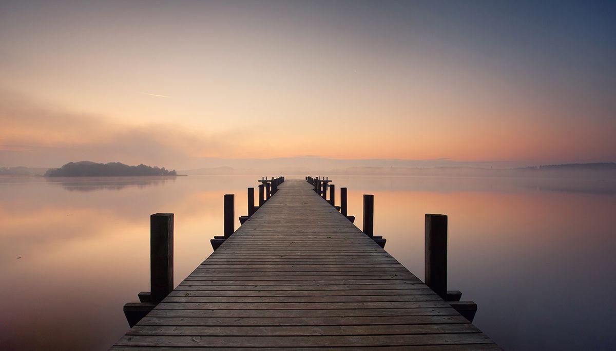 vinilo muelle madera lago puesta de sol amanecer mural pared