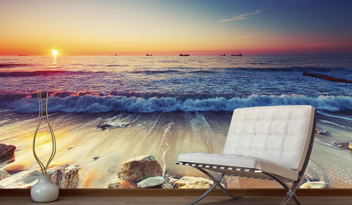 vinilo playa mar amanecer paisaje mural pared