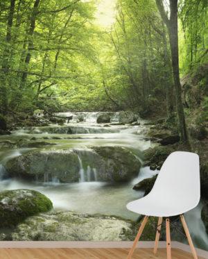 vinilo rio naturaleza bosque paisaje fotografia pared mural