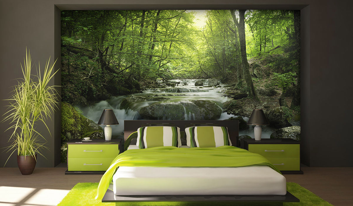 vinilo rio naturaleza bosque pared mural paisaje fotografia