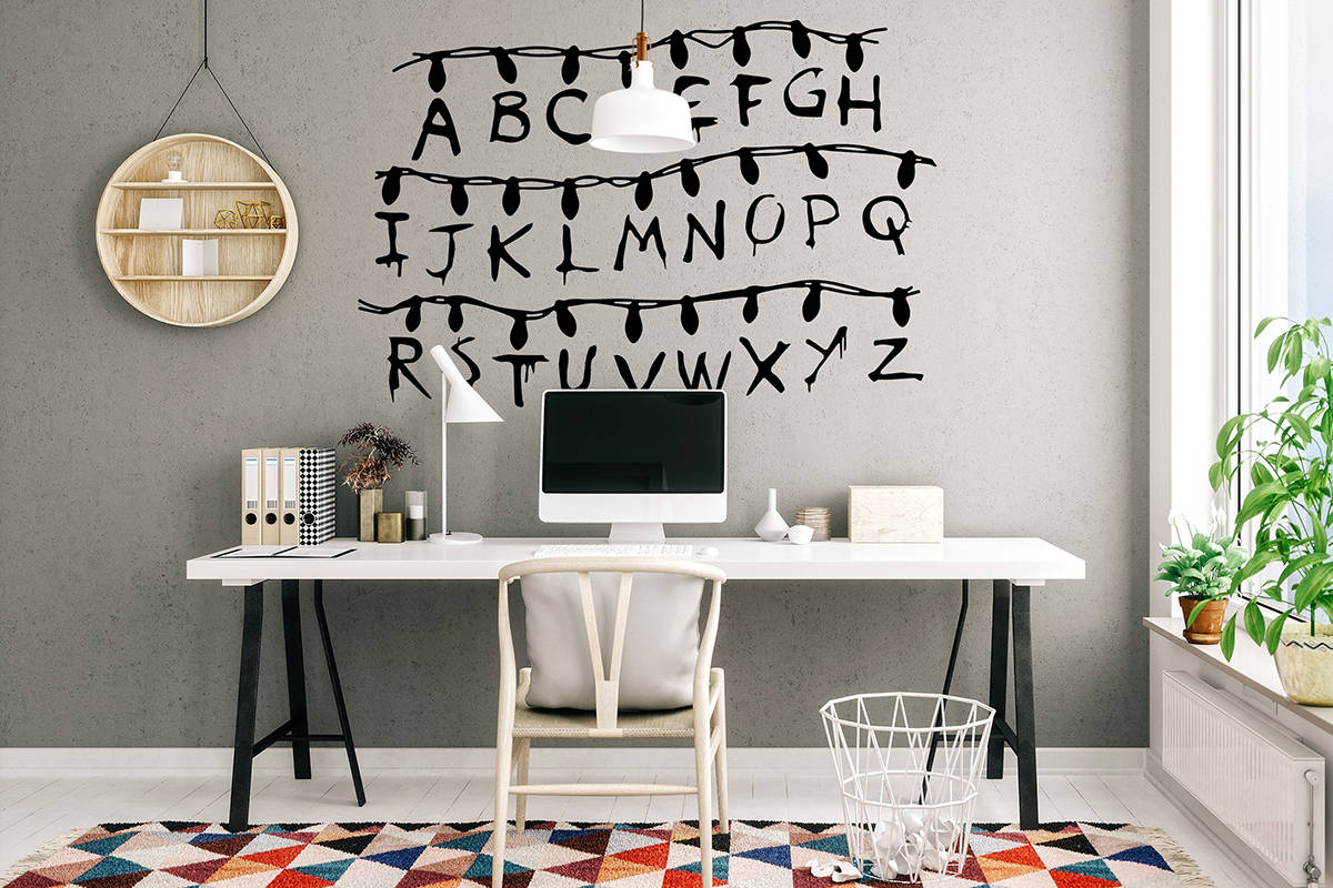 stranger things abecedario vinilo decorativo pared