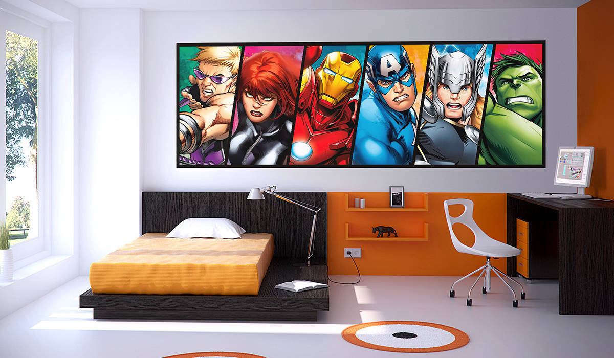 vengadores avengers vinilo comic color mural decoración