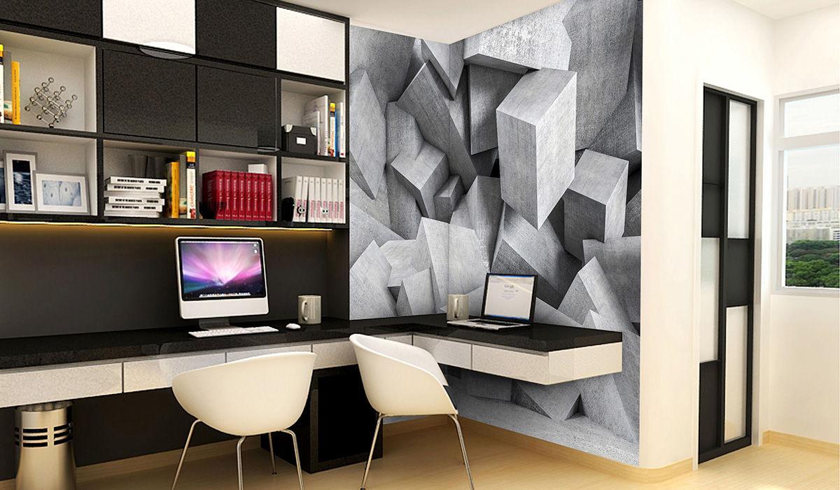 vininlo hormigon cubos 3D textura mural impreso