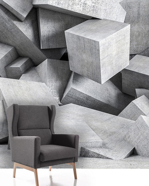 vininlo hormigon textura cubos 3D mural impreso