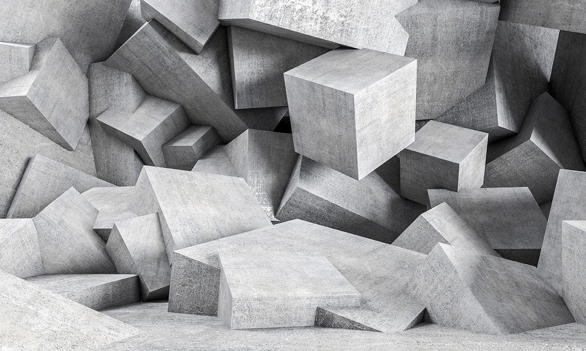 vininlo textura hormigon cubos 3D mural impreso