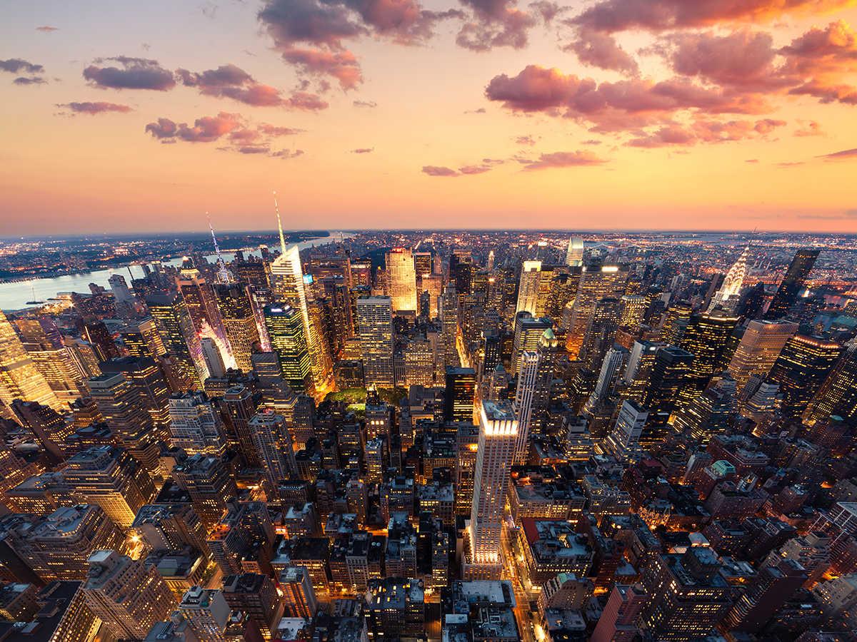 vinilo new york atardecer cielo ciudad mural