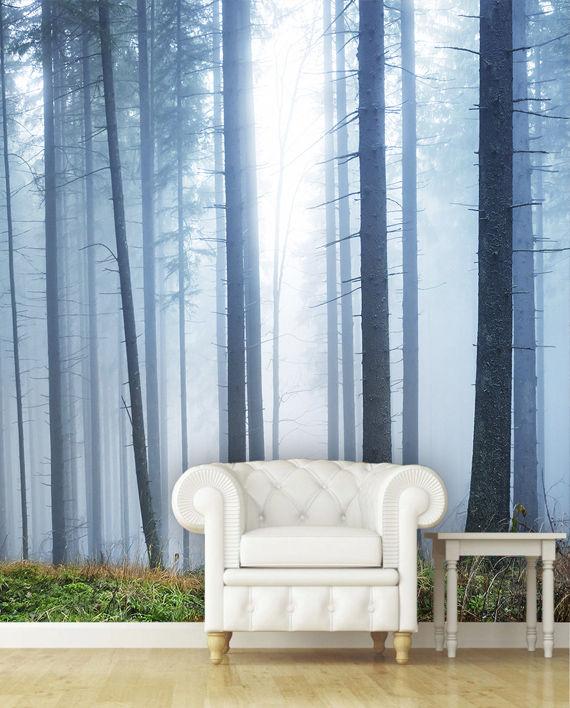 mural impreso vinilo niebla bosque