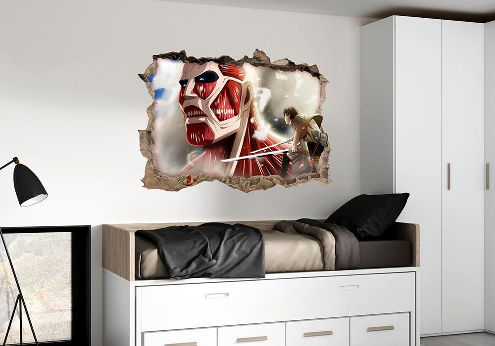 vinilo attack on titan colosal pared rota mural adhesivo