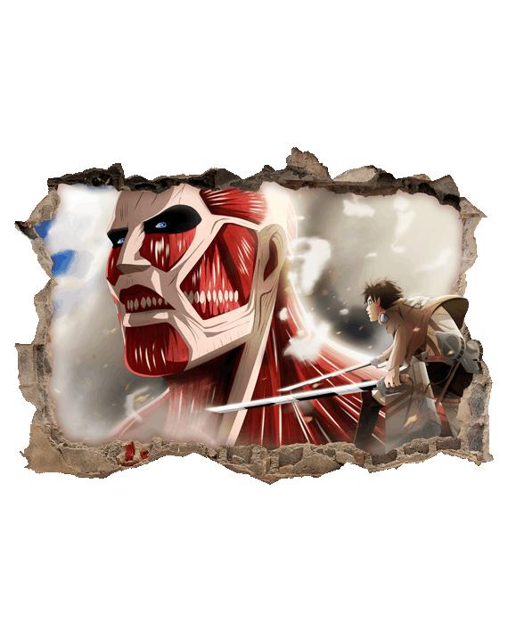 vinilo decorativo attack on titan mural pared rota colosal